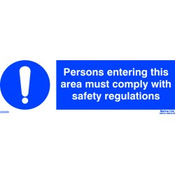 PERSONS ENTERING THIS AREA MUST COMPLY WITH SAFETY REGULATIONS  (10x30cm) White Vin. IMO symbol 230309WV