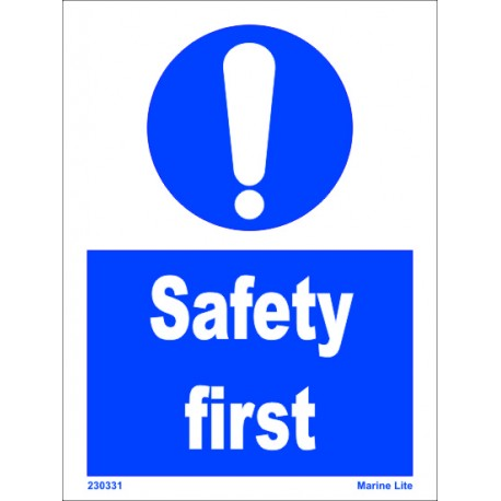 SAFETY FIRST  (15x20cm) White Vin. IMO symbol 230331WV