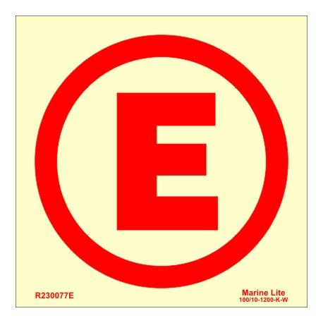"EMERGENCY LIGHTS ""E""  (15x15cm) Phot.Vin. IMO symbol R230077E"