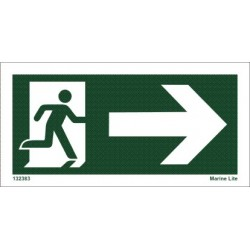 EMERGENCY EXIT RIGHT (4x7,5cm)  IMO sign 132383-34TV