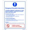 EMERGENCY EVACUATION INSTRUCTIONS   White Vin. IMO symbol 195900WV