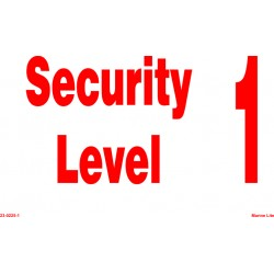 SECURITY LEVEL (1) (15X30CM) White Vin. IMO sign 23-0225(1)WV