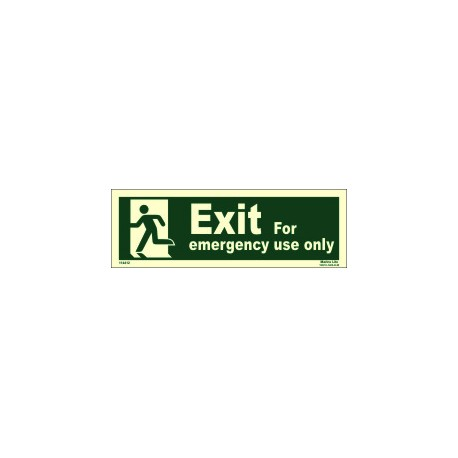 EMERGENCY EXIT/EXIT MAN LEFT (10x30cm) Phot.Vin. IMO sign 114412