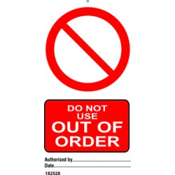 DO NOT USE OUT OF ORDER (7,5X15) SET 10, IMO sign 182528-SET