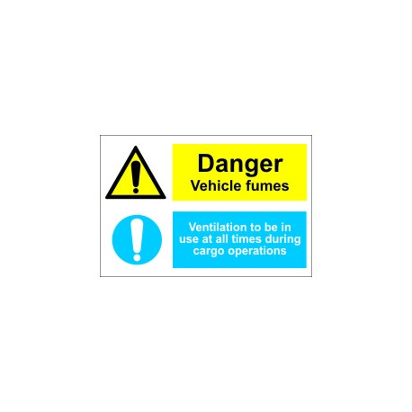 BEWARE VEHICLE FUMES-VENTIL.TO BE(20X30) White Vin IMO sign 173103WV