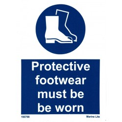 PROTECTIVE FOOTWEAR MUST BE WORN  (20x15cm) White Vin. IMO sign 195798WV