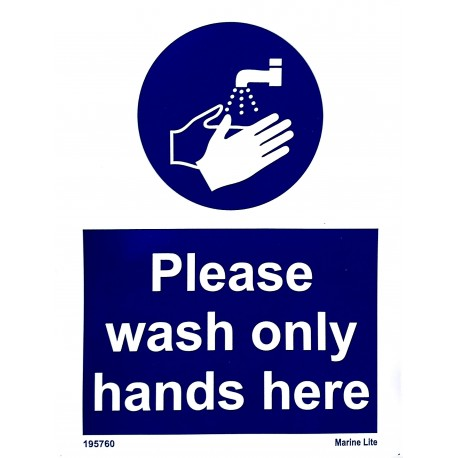 PLEASE WASH ONLY HANDS HERE  (20x15cm) White Vin. IMO sign 195760WV