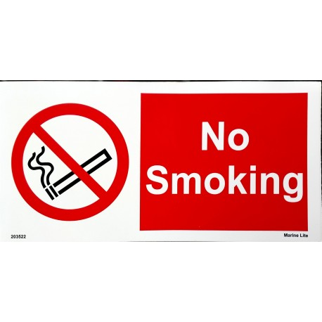 NO SMOKING (15x30cm) White Vin. IMO sign 203522WV