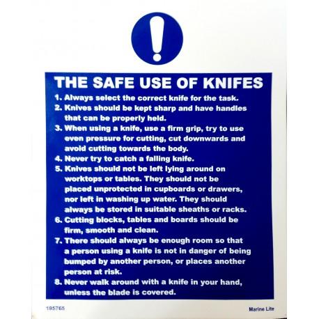 THE SAFE USE OF KNIVES (25x20 cm) White Vin. IMO symbol 195765(52)WV