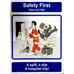 SLIPS AND FALLS (40x30 cm) Safety poster TSBM74WV/221105