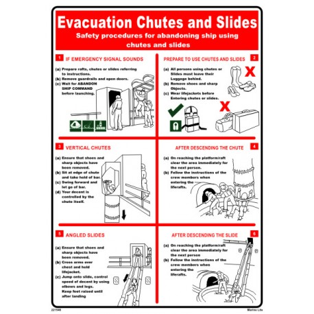 EVACUATION CHUTES & SLIDES (45x32cm) White Vin. IMO sign 221546WV