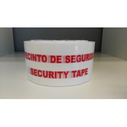 "Tape self adhesive vinyl red on white ""PRECINTO DE SEGURIDAD / SECURITY TAPE"" (48mmx66m)"