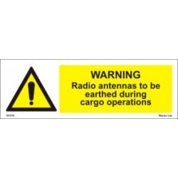 WARNING RADIO ANTENNAS... (10x30cm)  White Vin. IMO sign 187578WV