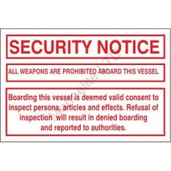 SECURITY NOTICE (20x30cm) White Vin. IMO symbol 230174WV
