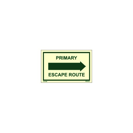 PRIMARY ESCAPE ROUTE RIGHT (6.4x4.1cm)  Phot.Vin. IMO sign 110108R