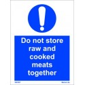 DO NOT STORE RAW AND COOKED MEATS TOGETHER  (20x15cm) White Vin. IMO sign 195767WV