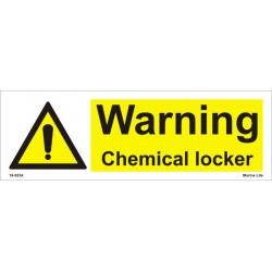 WARNING CHEMICAL LOCKER  (10x30cm) White Vin. IMO sign  18-0234WV
