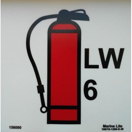 LIQUID WATER FIRE EXTINGUISHER 6KG  (15x15cm) Phot.Vin. IMO sign 156080(6)