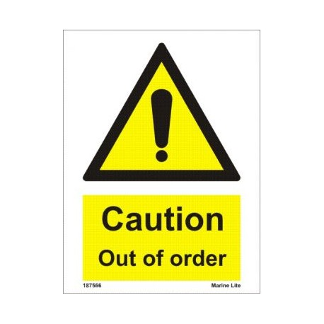 CAUTION OUT OF ORDER (20X15) White Vin IMO sign 187566WV