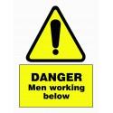 DANGER MEN WORKING BELOW (20X15) White Vin IMO sign 187567WV