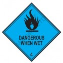 HAZARD CLASS 4.3 DANGEROUS WHEN WET (10x10cm) White Vin. IMO symbol 172212(08) MAC WV
