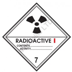 CLASS 7, RADIOACTIVE CATEGORY 1(10x10cm) White Vin. IMO symbol 172217(08) MAC WV