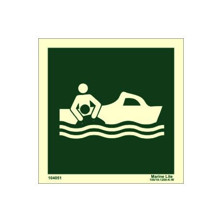 RESCUE BOAT WITHOUT TEXT  (15x15cm) Phot.Vin. IMO sign 104051 / LSS002