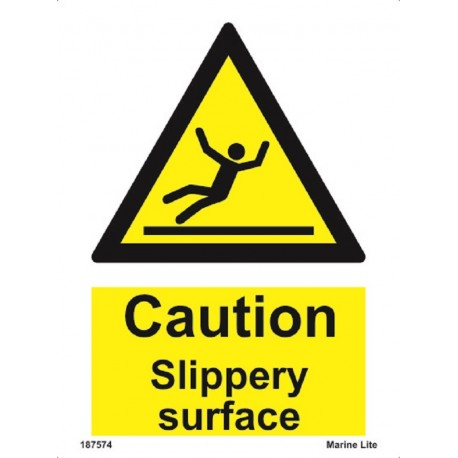 CAUTION SLIPPERY SURFACE (20x15cm) White Vin. IMO sign 187574WV