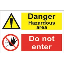 Danger Hazardous area/do not enter (20x30cm) White Vin. IMO sign 173114WV