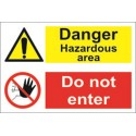 DANGER HAZARDOUS AREA/DO NOT ENTER (20x30cm) White Vin. IMO sign 173114WV