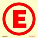 "EMERGENCY LIGHT ""E""  (5x5cm) Phot.Vin. IMO sign R230077E(5)"