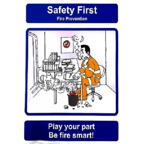 Señal IMO PON DE TU PARTE, SÉ INTELIGENTE CONTRA EL FUEGO (40x30cm) Safety poster TSBM74WV/ 221101