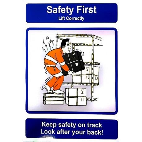 Señal IMO PIENSE EN LA SEGURIDAD, CUIDE SU ESPALDA (40x30cm) Safety poster TSBM74WV/ 221104