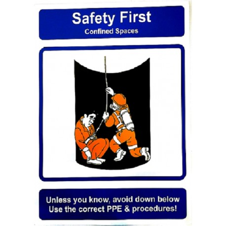 SAFETY FIRST- CONFINED SPACES (40x30cm) Safety poster TSBM74WV/ 221108