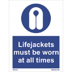 LIFEJACKETS MUST BE WORN AT ALL TIMES  (20x15cm) White Vin. IMO symbol 195742WV
