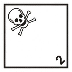 Class 2.3, Toxic gas With panel for UN number (25x25cm) White Vin. IMO sign 172234MAC