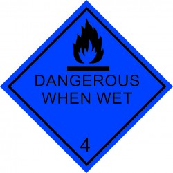 Class 4.3, Dangerous when wet (25x25cm) White Vin. IMO symbol 172212 MAC WV