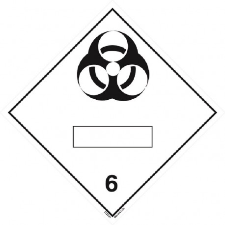 CLASS 6.2 INFECTIOUS SUBSTANCE WITH PANEL FOR UN NUMBER (25x25cm) White Vin. IMO symbol 172241 MAC WV