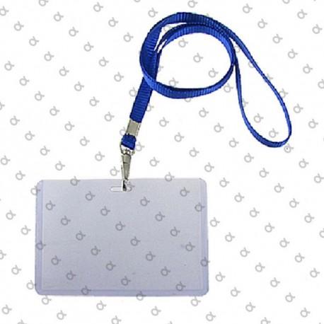 Plastic Badge for ID, Identificador plástico con pinza y cordón plano 9,4x6cm