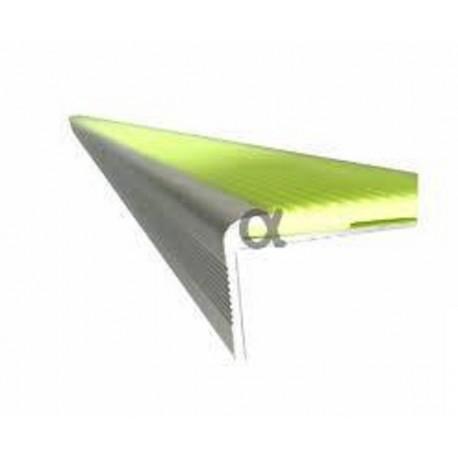 Perfil escalera aluminio anodizado acabado plata, superficie fotoluminiscente estriada antideslizante (1mx65 mm) 332393
