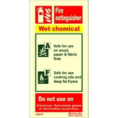 FIRE EXTINGUISHER WET CHEMICAL (20x10cm) Phot.Vin. IMO sign 146415