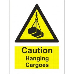 CAUTION HANGING CARGOES (20x15cm) White Vin. IMO sign 230300-16WV