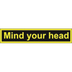Mind your head (4x20cm) Yellow Vin. IMO symbol 23-0128YV