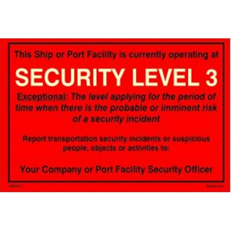 SECURITY LEVEL 3 (20x30cm) White Vin. IMO symbol 230181(3)17R