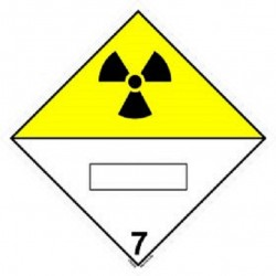 Class 7, Radioactive With panel for UN number  (25x25cm) White Vin. IMO symbol 172242(40) MAC WV