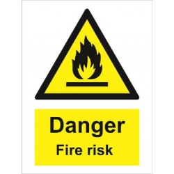 DANGER FIRE RISK  (20x15cm) White Vin. IMO sign 187630WV