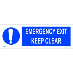 EMERGENCY EXIT KEEP CLEAR  (15x45cm) White Vin. IMO symbol 195830WV