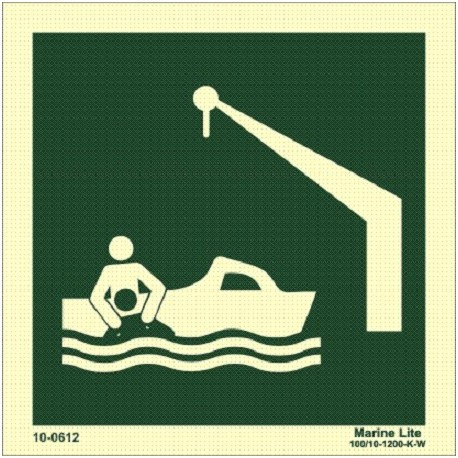 DAVIT LAUNCHED RESCUE BOAT  (15x15cm) Phot.Vin. IMO sign 10-0612