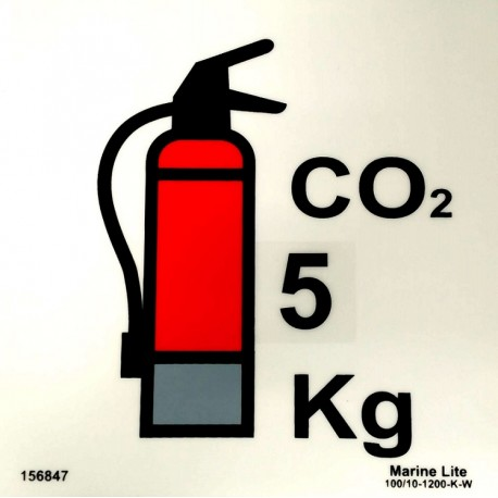 CO2 FIRE EXTINGUISHER  5KG (15x15cm) Phot.Vin. IMO sign 156847(5)
