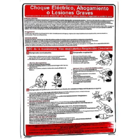 Póster ELECTRIC SHOCK,DROWNING & SERIOUS INJURY  (45x32cm) White Vin. IMO symbol 221509WV